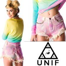 UNIF Shorts Pink Pastel Tie Dye Pyramid Stud Denim cut off Dolls Kill SZ 25