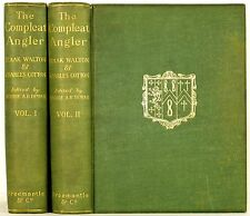 1902 THE COMPLEAT ANGLER IZAAK WALTON COTTON 2 VOLS ANGLING FLY FISHING ANTIQUE
