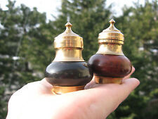 VINTAGE  BRASS & WOOD  TABLE SALT AND PAPER SHAKERS
