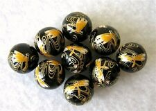 WHOLESALE 9 Japanese TENSHA BEADS Golden Dragonflies on Black 12mm
