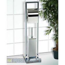 Chrome Toilet Roll Holder and Brush Set Floorstanding Square Deisgn Silver