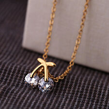 New Women Cherry Crystal Pendant Short Sweater Gold Necklace Jewelry Gift