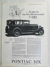 1928 Pontiac 2 Two Door Sedan Car a Successful Six Original Ad