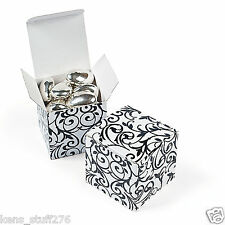 "2"" Gift Boxes, Birthday Favor, Wedding, Candy Buffet, Sweet 16, BLk/WH Swirl"