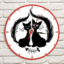 Cats in Love Fish Color design vinyl record wall clock home art shop office vet