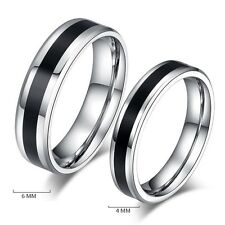 Size 11 Fashion Jewelry Titanium Band Stainless Steel Black Ring Men Women  6mm