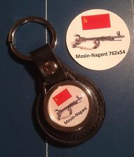 Mosin-Nagent 762x64 SNIPER RIFLE  REAL LEATHER KEY RING  &  Sticker