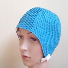 Aquapro Adult Royal Blue Retro (Vintage) Bubble Crepe Swim/Bathing Cap W/ Strap