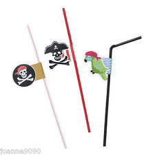 SET OF 6 PIRATE DRINKING STRAWS PARROT SKULL KIDS PARTY PARTYWARE DECORATION
