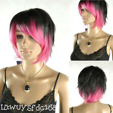 Latest New Short Black & Pink Woman's Like real hair Wig +free wig cap NO:061