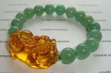 Feng Shui - 2015 Citrine Pi Yao with Green Aventurine Bracelet (12mm beads)
