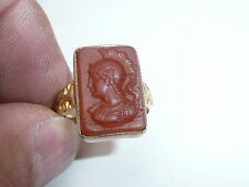 MENS 18CT GOLD GENTS INTAGLIO CENTURION 1907 RING SIZE Q 18.36MM DIA 5.3 GRAMS