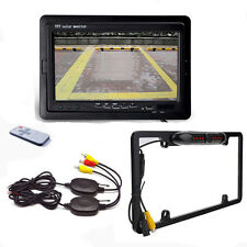 "License Plate Frame Car Camera + 7""LCD MONITOR WIRELESS BACKUP SYSTEM REAR VIEW"