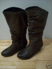 Captivating Call it Spring Slouch Brown Knee Boots Heels Wedge Heels Shoe Size 6