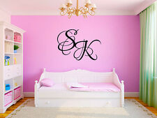 "Personalized 2 Letter Initial Monogram Name #5 Wall Decal Room Vinyl 10"" Tall"