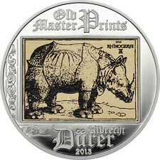2013 Cook Is Large Silver Color Proof $5-Durer-Rhinocerus-Art Masterpieces