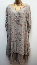 New Italian Lagenlook Beige Floral Cotton Tunic Dress Top 16 18 20 22