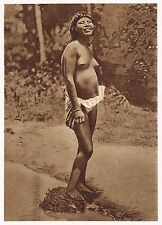 1920s Vintage Native South American Indian Woman Female Nude Photo Gravure Print