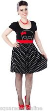 130280 Black & Red Hunny Lulu Dress Sourpuss Pinup Retro 50s Punk Dots Small S