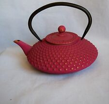 Cast Iron Japanese Pink Iwachu Hobnail Kettle Tea Pot W/ Handle Lid Strainer
