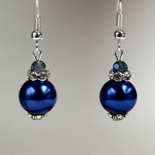 Midnight blue large pearls crystals silver drop earrings wedding bridesmaid gift