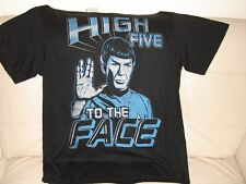 NEW W TAGS MENS LARGE STAR TREK BLACK SHORT SLEEVE T SHIRT TOP SPOCK