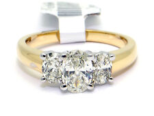 14k Yellow Gold 1ct Three Stone Oval Cut Diamond Engagement Ring EGL Size 6.75