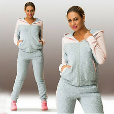 Womens Ladies Tracksuit Zipper Hoodie Sweatshirt Pants Sets Gym Sports Suit 2pcs