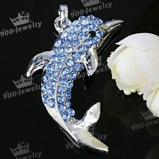 1PC Blue Crystal Rhinestone Glass Dolphin Bead Pendant Fit Necklace Gift