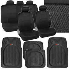 13 Pc Interior Protection - Black/Black Car Seat Cover and Deep Dish Rubber Mats
