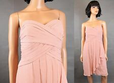 Davids Bridal Bridesmaid Dress 10 M Strapless Pink Sheer Crepe Short Prom Gown