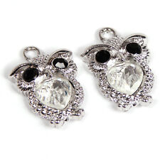20x Silver Plated White Heart Rhinestone Owl Alloy Pendant Charms Fit Necklace D