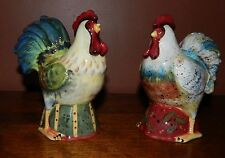Colorful and Unusual Farm Rooster & Hen, S & P Shakers (Huge). Mint. Unused.