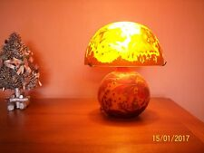 EMILE GALLE STYLE FROSTED GLASS TABLE LAMP - FISH MOTIF
