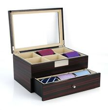 12 TIE DISPLAY CASE EBONY WALNUT BELTS MENS ACCESSORIES STORAGE BOX FATHERS GIFT