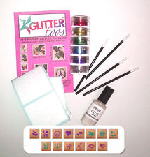 Glittertoos Glitter Tattoo Kit Love Peace & Happiness Set Stencils Brushes Glue