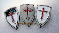 3 x Knights Templar Shields Crusader St George Crusade Cross Pin Badge Medieval