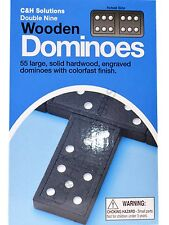 C&H Double 9 Dominoes Black With White Dots Wooden Dominoes 55 PCS
