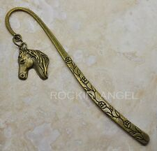 Vintage Bronze Horse Head Charm Bookmark, Horse Lovers, Ladies Mens, Girls Gift