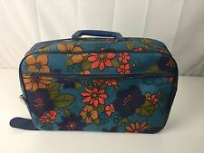 Vintage Small Suitcase Blue Made in Japan 1960's Fabric Flower Power Hippie Mod