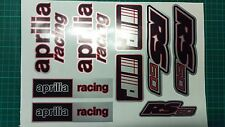 Aprilia RS50 DECALS STICKERS 3COLOUR Black Red Silver RS 50 Racing IP, 9 piece