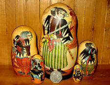 Russian nesting dolls 5 japon samurai warriors Petrushina signé matryoshka cadeau