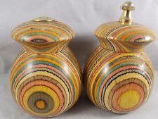 Vintage Mr. Dudley Rainbow Wood Pepper Mill Grinder & Salt Shaker Set