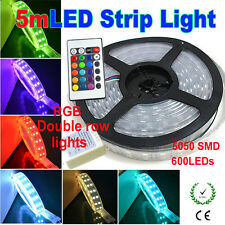 5M 5050 120LED/M 600leds RGB WaterproofIP67 Double Row Strip Light+24Key Remote