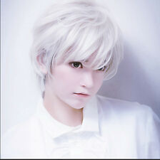 Anime Silver White Short Straight Men's Silver White Cosplay Wig Costume Party