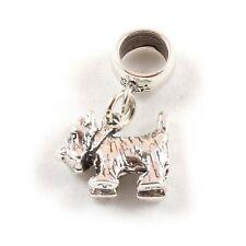 Scottie Westie Dog - 3D Sterling Silver Dangle Charm Carrier Bead