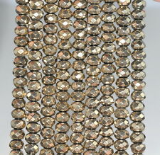 """6X4MM HEMATITE GEMSTONE PYRITE TONE FACETED RONDELLE 6X4MM LOOSE BEADS 16"""""""