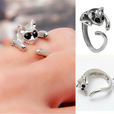 Animal Lovely Silver Plated Kitten Cute Crystal Black Eyes Cat Cuff Finger Ring