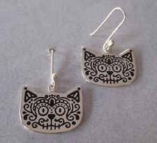 Mexican 925 Silver Taxco SUGAR SKULL Cat Kitty Dia de Muertos Dangle Earrings