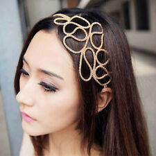 Stylish Women's Gold Hollow Out Braided Stretch Hair Head Band Accessories